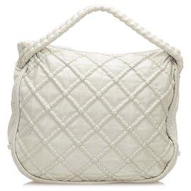 Chanel-Chanel White Diamond Stitch Lambskin Leather Tote Bag-White,Cream