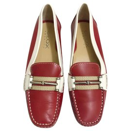 Geox-Geox two-tone loafers-White,Red