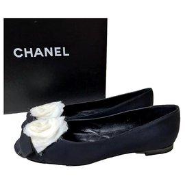 Chanel-Chanel Textile Camellia Ballet Flats Size 40-Black