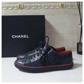 Chanel-CHANEL Black Red CC Logo Textile Leather Sneakers Trainers Sz.38,5-Black