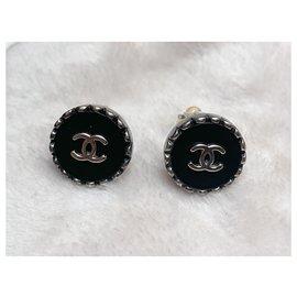 Chanel-Spring 1996 earrings-Black,Silvery