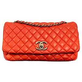 Chanel-Chanel Red Quilted Iridescent Large Bubble Flap Bag LIMITED EDITION-Red