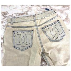 Chanel-Chanel CC jeans size 34-Light blue
