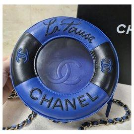 Chanel-Chanel Lifesaver Round Crossbody Bag-Dark blue