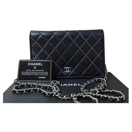 Chanel-Chanel Quilted Multicolour Stitching Wallet On Chain-Black