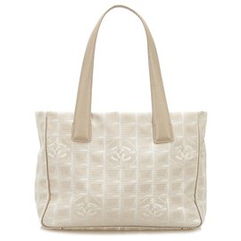 Chanel-Chanel Brown New Travel Line Canvas Tote Bag-Brown,Beige
