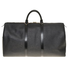 Louis Vuitton-Very beautiful Louis Vuitton Keepall travel bag 50 black epi leather, garniture en métal doré-Black