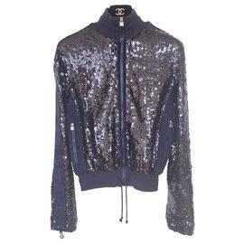 Chanel-NEW trendy sequin bomber jacket-Navy blue
