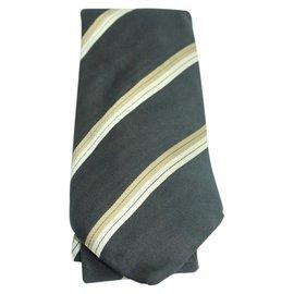 Louis Vuitton-Black tie with horizontal taupe stripes TELM7-Other