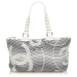 Chanel-Chanel White Camellia Flower Beach Canvas Tote Bag-Black,White