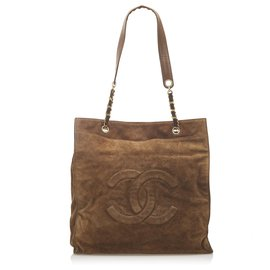 Chanel-Chanel Brown CC Suede Tote Bag-Brown,Dark brown