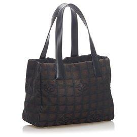 Chanel-Chanel Brown New Travel Line Canvas Tote Bag-Brown,Black,Dark brown