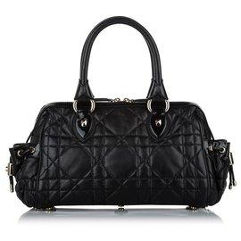 Dior-Sac à main Dior Cannage en cuir noir-Noir