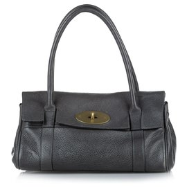 Mulberry-Mulberry Black Bayswater Leather Shoulder Bag-Black