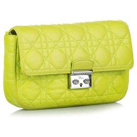 Dior-Sac à bandoulière en cuir à chaîne Dior Cannage Miss Dior Promenade jaune-Jaune