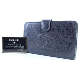 Chanel-Chanel Caviar CC Logo Bifold Long Wallet-Black