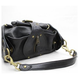 Mulberry-Black Leather Buckle Shoulder Bag-Black
