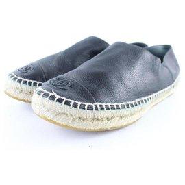 Chanel-Black Leather Cap Toe Espadrilles Flats-Other