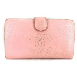 Chanel-Pink Caviar Cc Logo Wallet-Pink