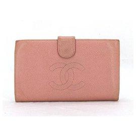 Chanel-Pink Caviar Cc Logo Long Wallet-Pink
