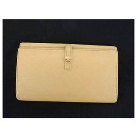 Chanel-Chanel Beige Cc Button Line Bifold Wallet-Beige