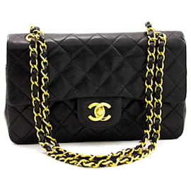 "Chanel-Chanel 2.55 lined flap 9"" Chain Shoulder Bag Black Lambskin-Black"
