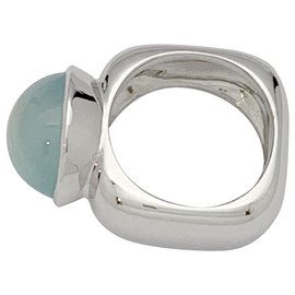 inconnue-Square ring in white gold, aquamarine cabochon.-Other