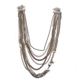 Chanel-Chanel Gold Multiple CC Baguette Crystals Long Necklace-Golden