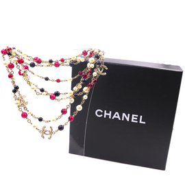 Chanel-Chanel CC Beads Pearl Crystal Triple lined Strand Necklace-Multiple colors