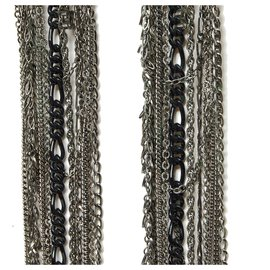 Chanel-SILVER METAL CHAINS HAIR COMBS-Silvery