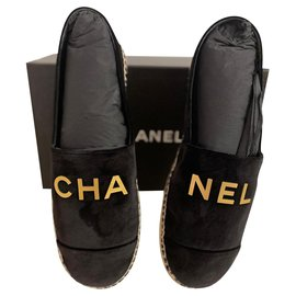 Chanel-CHA NEL black velvet espadrilles-Black