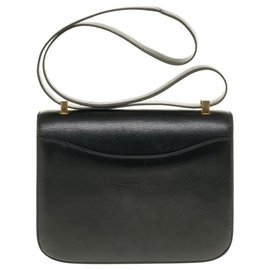 Hermès-Splendid Hermès Constance bag 23 black box leather, garniture en métal doré-Black