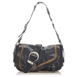 Dior-Sac à bandoulière en cuir Saddle Dior noir Gaucho-Marron,Noir