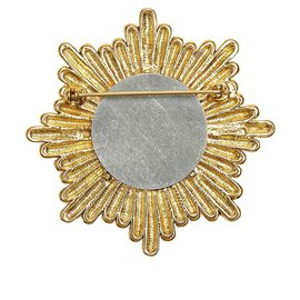 Chanel-Chanel Gold CC Gold-Tone Brooch-Golden