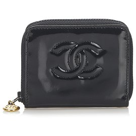 Chanel-Chanel Black CC Patent Leather Coin Pouch-Black