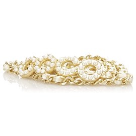 Chanel-Chanel Gold Coco Faux Pearl Chain Belt-White,Golden,Other