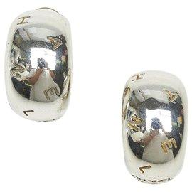 Chanel-Chanel Silver Logo Clip-on Earrings-Silvery