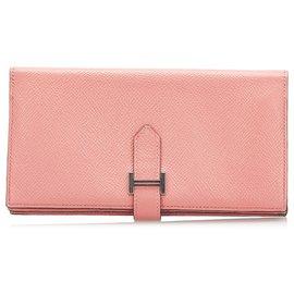 Hermès-Hermes Pink Bearn Soufflet Leather Wallet-Pink