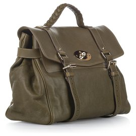 Mulberry-Mulberry Green Alexa Leather Satchel-Green