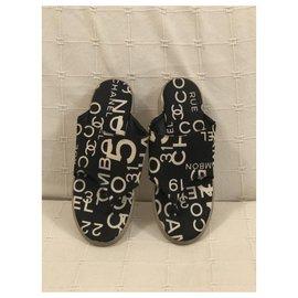 Chanel-Sandals-White,Dark blue