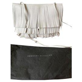 Proenza Schouler-Large lunch bag fringe-White