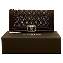 Chanel-Chanel boy clutch swarovsky ornament-Black