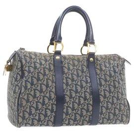 Dior-CHRISTIAN DIOR Trotter Canvas Hand Bag Navy Blue Auth ar3717-Bleu