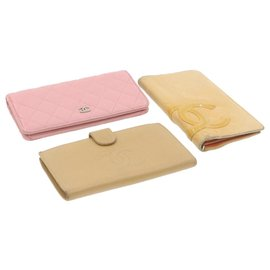 Chanel-CHANEL Matelasse Cambon Caviar Skin Wallet Pink Beige 3Set Leather Auth ar3720-Pink,Beige