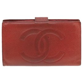 Chanel-CHANEL Caviar Skin Long Wallet Red CC Auth br190-Red