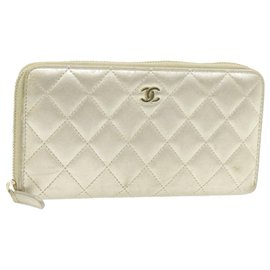 Chanel-CHANEL Matelasse Long Wallet Leather Gold Tone CC Auth yt173-Golden