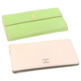 Chanel-CHANEL Camellia Long Wallet Pink Green 2Set Leather CC Auth yt174-Pink,Green