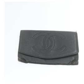 Chanel-CHANEL Cambon Line Caviar Skin Wallet Black Beige 4Set Leather Auth yt176-Black,Beige