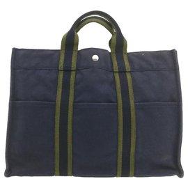 Hermès-HERMES Fourre Tout MM Hand Bag Navy Cotton Auth cr760-Navy blue