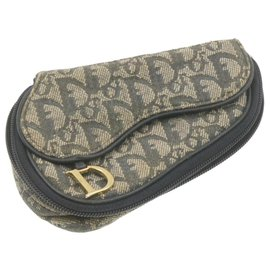 Dior-CHRISTIAN DIOR Trotter Canvas Saddle Cosmetic Pouch Navy Blue Auth cr761-Bleu